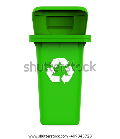 Garbage Trash Bin with Recycle Symbol isolated on white background. 3D render