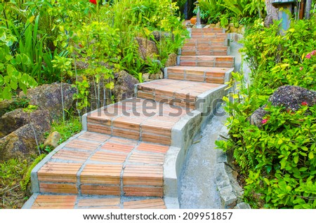 Natural Stone Landscaping Home Garden Stairs Stock Photo 56460916