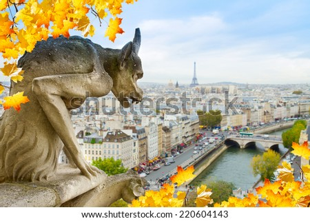 Gargoyle of Paris on Notre Dame Cathedral church at fall day, France