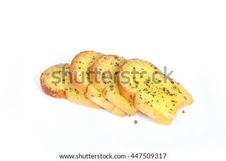 Garlic  bread slices on white background.