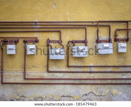 gas meters on an old building