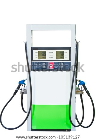 Gas pump nozzles in a service station with clipping path