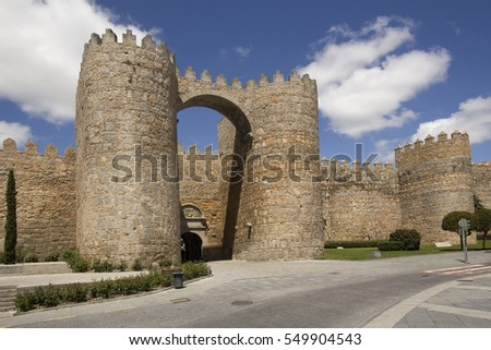 Gate in the city wall, Puerta del Alcazar, in Avila, Spain