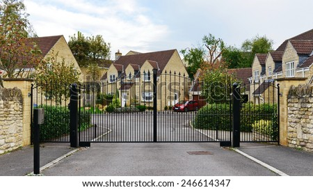 Gateway and Drive of a Gated Community on an Upscale English Residential Housing Estate