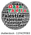 Gaza capital city of Palestine info-text graphics and arrangement concept on white background (word cloud) - stock