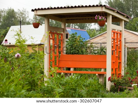 gazebos on the background of a summer garden