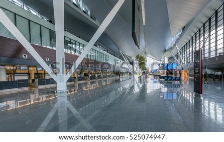 GDANSK AIRPORT, POLAND - JULY 14: Interior of new modern terminal at Lech Walesa Airport in Gdansk on July 14, 2012. The terminal was build for soccer Euro Cup 2012.