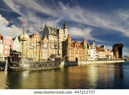 GDANSK,POLAND-CIRCA APRIL 2015:panorama of the old town in Gdansk.Cityscape of Gdansk in Poland