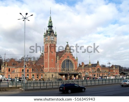 "GDANSK, POLAND - MARCH 06, 2012: Railway station ""Gdansk Principal"""