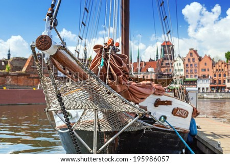 GDANSK, POLAND - 20 MAY: Marina at Motlawa river in old town of Gdansk on 20 May 2014. Gdansk is the historical capital of Polish Pomerania with medieval old town architecture.