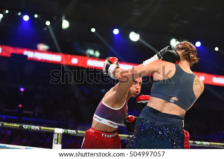 Gdansk, Poland -September 17, 2016: boxing fight between Ewa Piatkowska and Aleksandra Magdziak Lopes for WBC Women's World Superwelterweight Championship