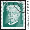 GDR - CIRCA 1975: a stamp printed in GDR shows Albert Schweitzer, Medical Missionary, Founder of the Albert Schweitzer Hospital in Lambarene Gabon, circa 1975 - stock photo