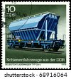 GDR - CIRCA 1979: A Stamp printed in the GDR  shows unloading freight car Us-y, circa 1979 - stock photo