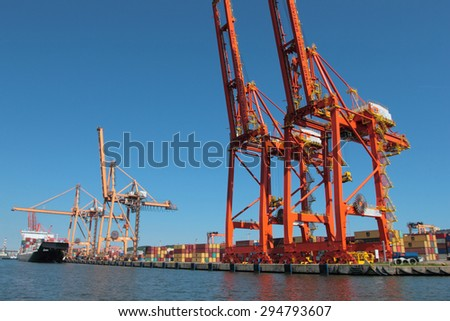 GDYNIA, POLAND - JUNE 13, 2015: Container terminal in Gdynia, Poland