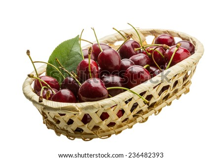 Gean - sweet cherry berries isolated on white