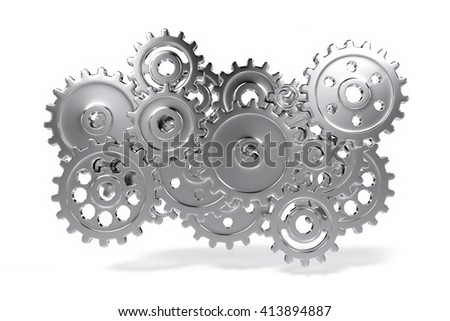 gear wheel system floating in a white environment (3d illustration)