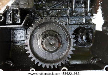 Gearing, Machine parts adhesive lubricant, selective focus