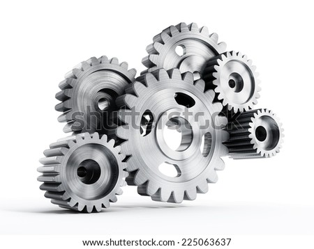 Gears in motion isolated on white.