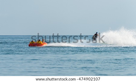 "Gelendzhik, RUSSIA - JULY 08, 2016: A popular sea attraction ""driving on tablet"""