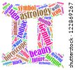 Gemini zodiac info-text graphics composed in Gemini zodiac sign shape on white background - stock photo
