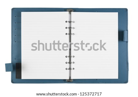 General blank blue notebook on white background, isolate  (General design, non copyrighted)