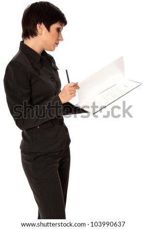 General director reading a contract for her partner