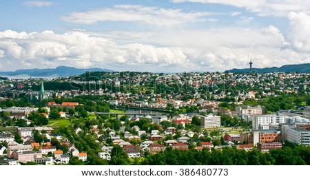 General view of Trondheim on a day with many clouds