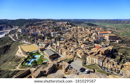 General view of typical Catalan town. Cardona, Catalonia Spain