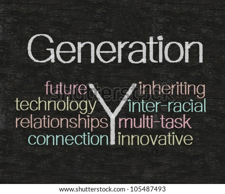 generation y concept and words tag cloud written on blackboard background, high resolution, easy to use.