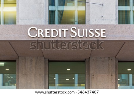 GENEVA, SWITZERLAND - DECEMBER 7, 2016: A sign for Credit Suisse. Founded in 1856, it has operations in over 50 countries and 48,200 employees from over 150 different nations.