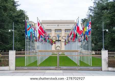 GENEVA, Switzerland -JANUARY 2015: Front View of the United Nations, January 25, 2015 in Geneva, Switzerland.