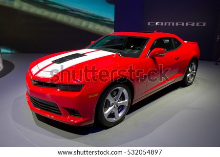 GENEVA, SWITZERLAND - MARCH 4, 2015: Chevrolet Camaro at the 85th International Geneva Motor Show in Palexpo, Geneva.