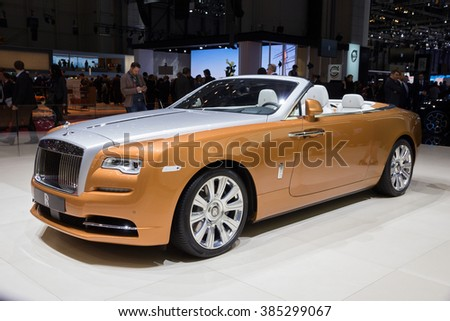 GENEVA, SWITZERLAND - MARCH 1, 2016: Rolls-Royce Dawn shown at the 86th International Geneva Motor Show in Palexpo, Geneva.