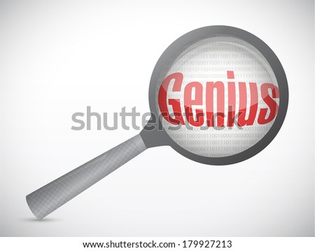 genius under magnify illustration design over a white background