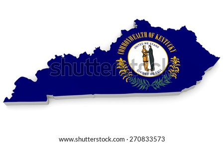 Geographic border map and flag of Kentucky, Bluegrass State