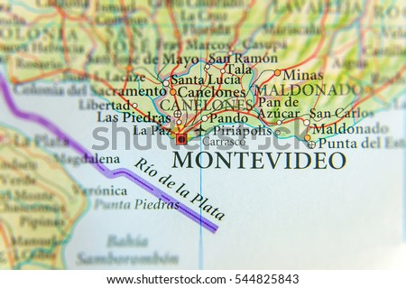 Geographic Map Uruguay Montevideo Capital City Stock Photo - Montevideo map