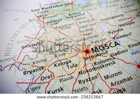 Geographical view of Moscow (Geographical view altered on colors/perspective and focus on the edge. Names can be partial or incomplete)