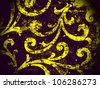 Geometric, abstract, vintage, retro, grungy, arabesque ornamented tile in purple and yellow. Good for islamic, arabian, middle east, scrapbooking, damask, emo, halloween, abstract or interior design. - stock photo