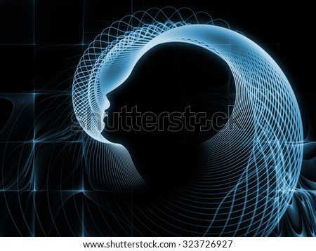 Geometry of Soul series. Backdrop composed of profile lines of human head and suitable for use in the projects on education, science, technology and graphic design