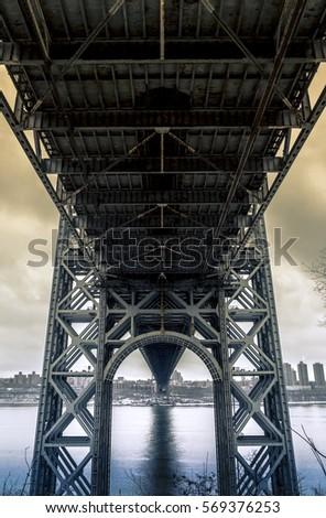 George Washington Bridge Unique Perspective Stock Photo