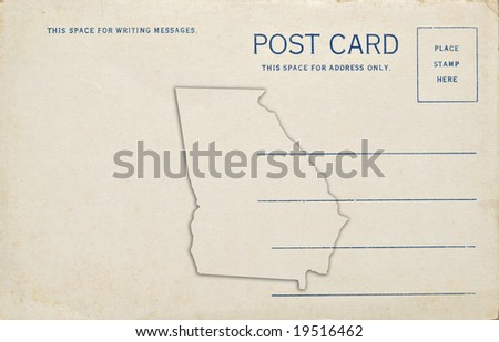 Georgia postcard with map outline. Dirt and scratches at 100%.