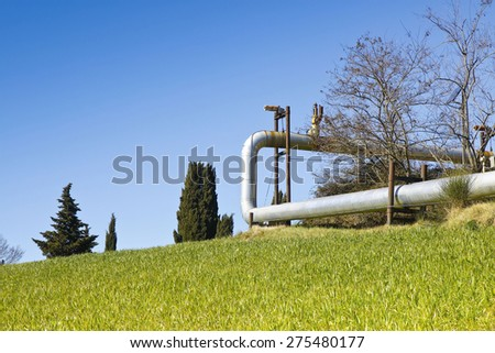 Geothermal power plant in Tuscany hills with copy space