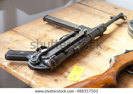 german automatic pistol on a table