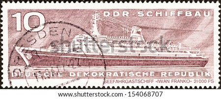"GERMAN DEMOCRATIC REPUBLIC - CIRCA 1971: A stamp printed in Germany from the ""East German Shipbuilding Industry"" issue shows liner Ivan Franko, circa 1971."