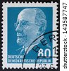 GERMAN DEMOCRATIC REPUBLIC - CIRCA 1961: A stamp printed in Germany shows the leader of East Germany from 1950 to 1971 Walter Ulbricht, circa 1961.  vV Vintage stamp isolated on black - stock photo