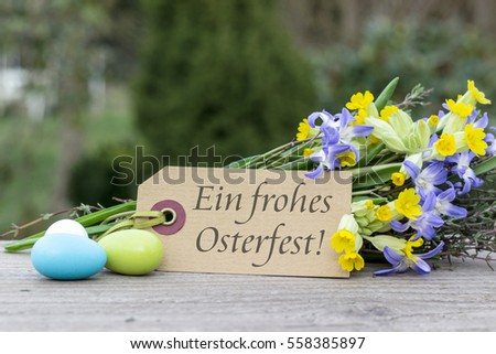 German-language greeting card for Easter with the text Best regards for Easter / Best regards for Easter / German-language greeting card