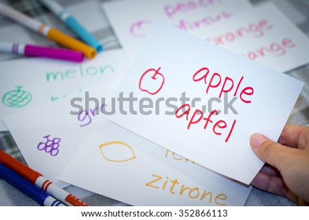German; Learning New Language with Fruits Name Flash Cards