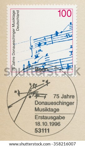 GERMANY - CIRCA 1996: A first day of issue postmark printed in Bonn, shows notes, Donaueschingen Music Festival, 75th Anniversary, circa 1996