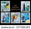 GERMANY - CIRCA 1972: A series of five stamps used on the old German lighthouse, circa 1972 - stock photo