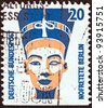 """GERMANY - CIRCA 1987: A stamp printed in Germany from the """"Tourist Sights"""" issue shows the Head of Nefertiti, Berlin Museum, circa 1987. - stock photo"""